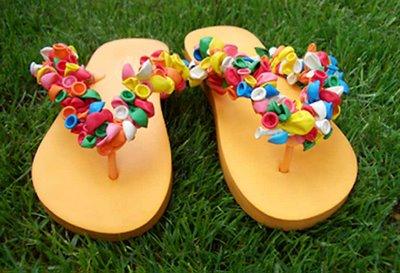 sandalias, chanclas, tijera, globos, customizar
