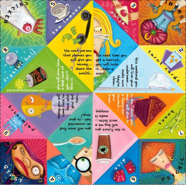 origami, fortuna, juego, adivinación, manualidades mágicas, recortable