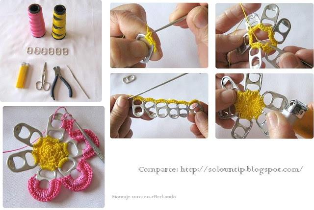 flores, flor, anillas de lata, crochet, manualidades, labores