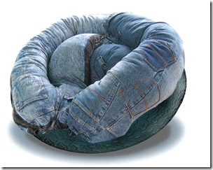 sillón, reciclar, vaqueros, decoración, manualidades