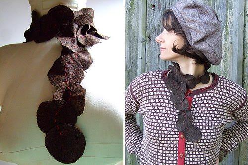 bufandas, círculos, pétalos, crochet, tela, accesorios, complementos