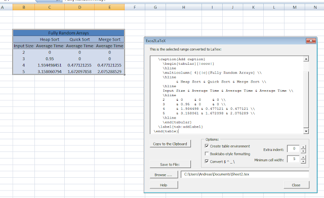 Andreas Grech's Blog: Converting Excel tables to LaTeX tables