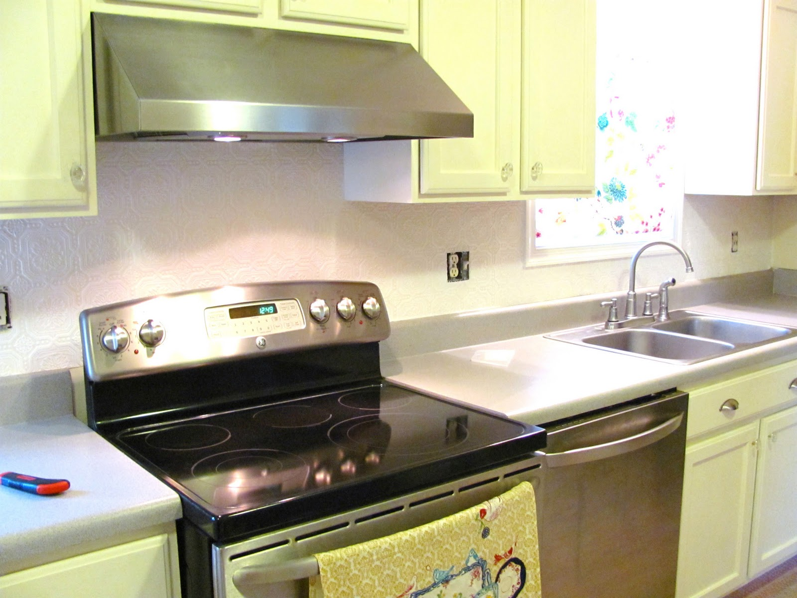 vinyl wallpaper kitchen backsplash brushes silver lining decor d i y part 1