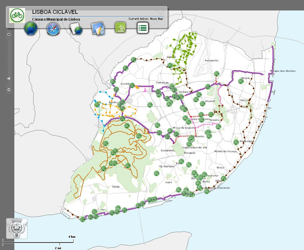 cm lisboa mapa 100 dias de bicicleta em Portugal: Mapa da Rede Ciclável de Lisboa cm lisboa mapa