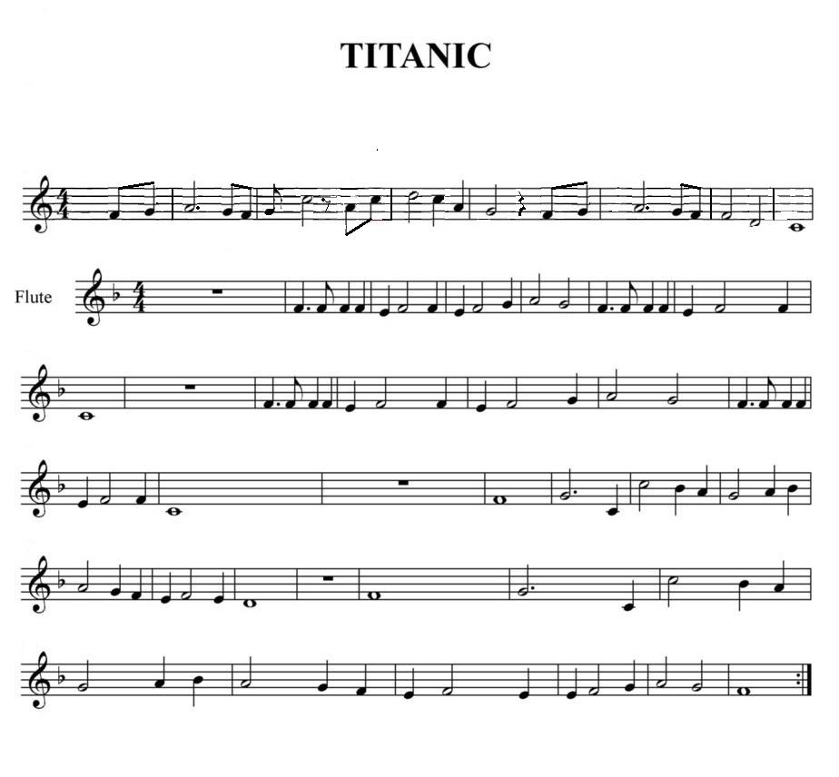 Música Andrés Partitura Del Titanic Para La Flauta Dulce