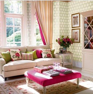 pink and green living room - How To Make Spring DIY Decor: 10 Simple Ideas To Get Started