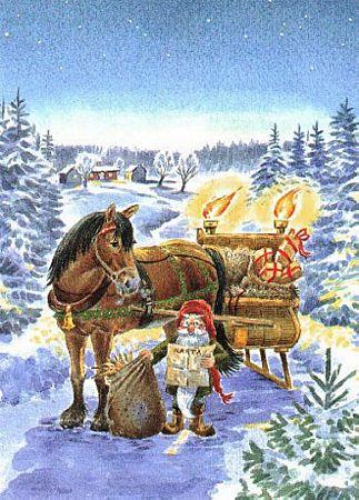 caballo en la nieve , ilustraciones y postales navidad