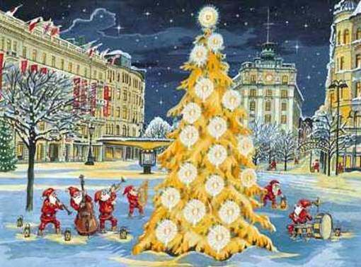 papá Noel gran árbol de Navida en ciudad nevada