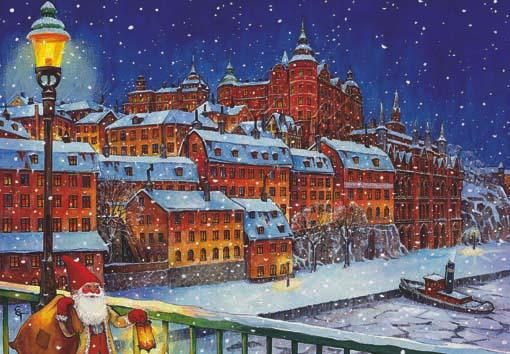 papa Noel en ciudad nevada, ilustraciones y postales navidad