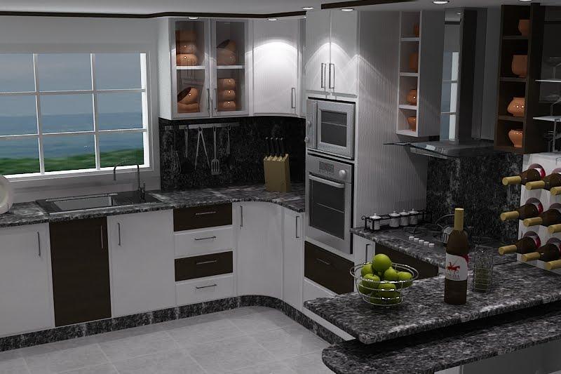 Arquirender3d cocina blanco y wengue for Cocinas wengue