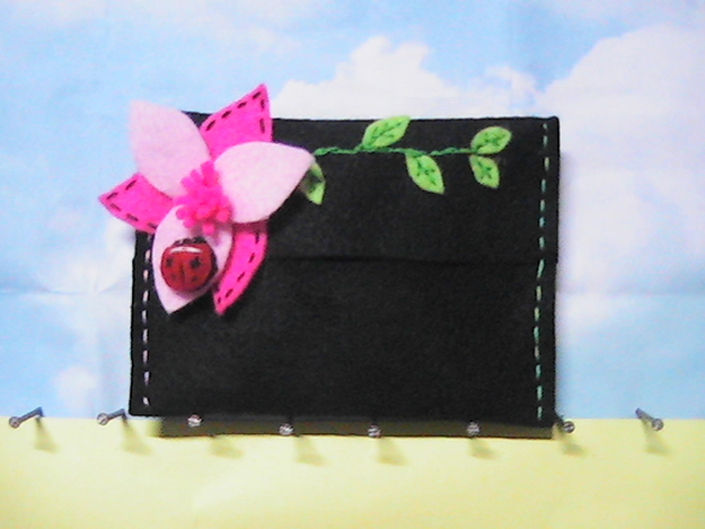 Tissue Holder - bunga Pink with Ladybird