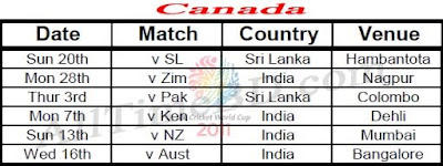 Canada ICC cricket world cup 2011 match schedule