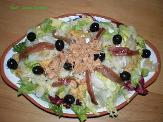 ensalada de escarola y bacalao