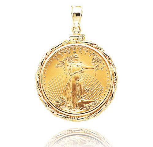 14K Gold Liberty Coin Pendant