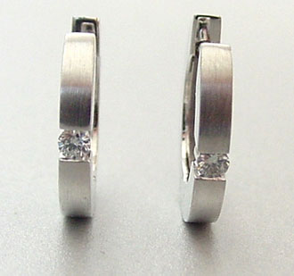 Single Diamond Hoop Earring Fashion 14k White Gold Earrings