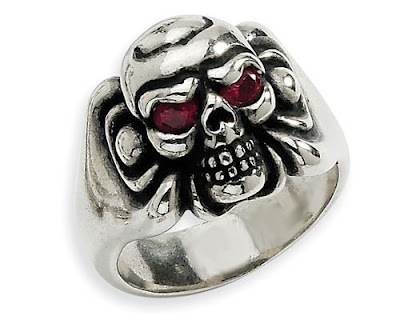Silver Red CZ Skull Ring