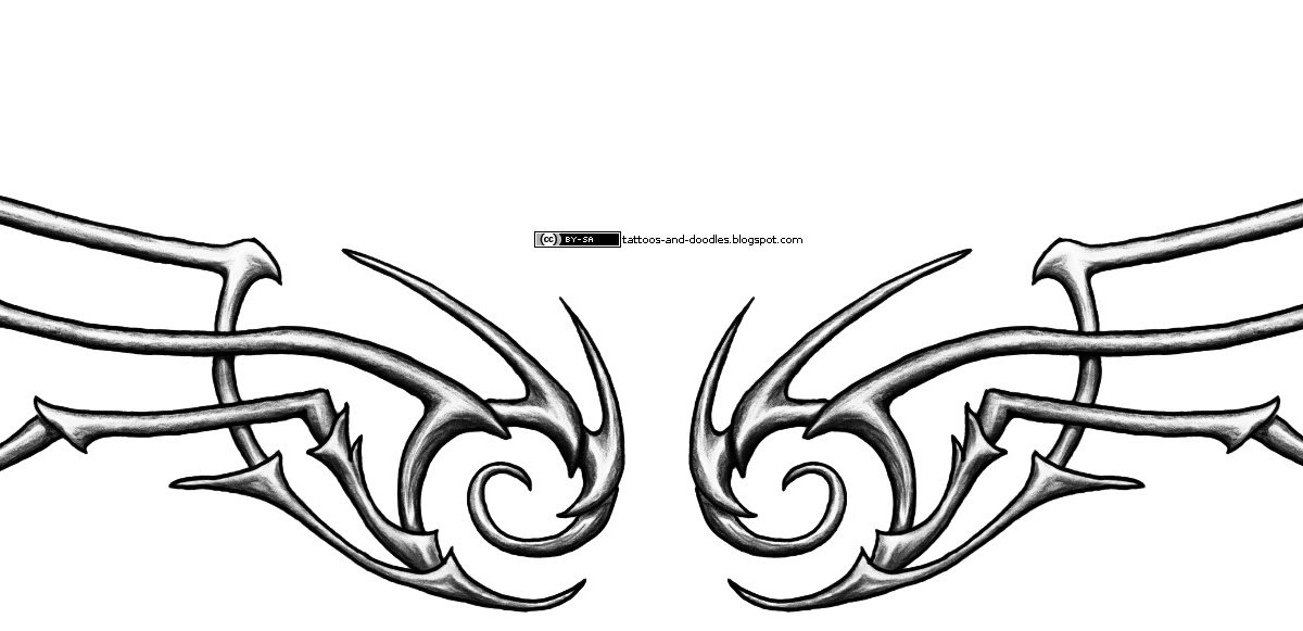 Tattoos and doodles: Bone tribal wings