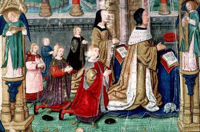 Le duc René II de Lorraine et la duchesse Philippe de Gueldre avec leurs fils.   Vita Christi par Ludolphe le Chartreux. 1506.   Bibliothèque Municipale de Lyon, manuscrit ms 5125, folio 3v.
