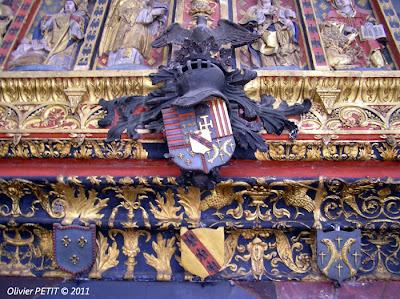 Détail de l'enfeu du Duc René II de Lorraine  Œuvre du sculpteur Mansuy Gauvin (mort en 1542)  réalisé en 1509  Nancy - Église des Cordeliers