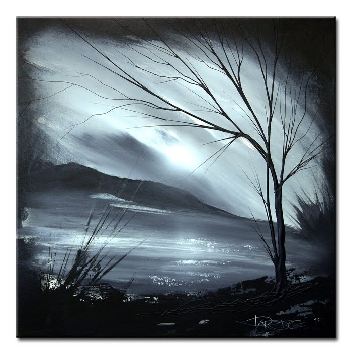 Landscape 121 black and white abstract art landscape painting