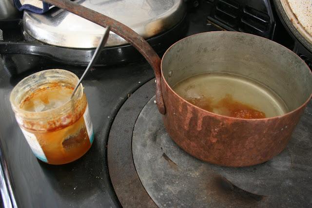 Making the honey and orange syrup