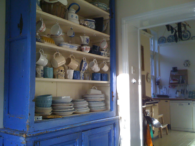 blue dresser in the pantry at the Underground Restaurant