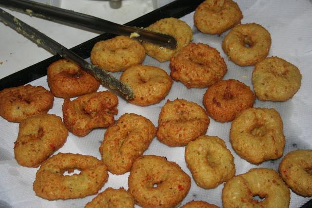 Making vadai, the spicy doughnut.
