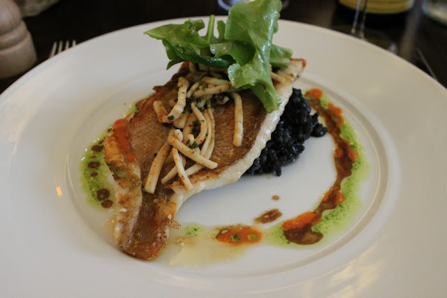 filet of scorpion fish, squid ink risotto and squid strips fried like elvers or glass eels, la regalade, paris