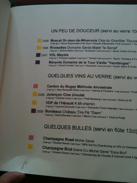 A simple and creatively presented wine menu with colour codes, la regalade, paris
