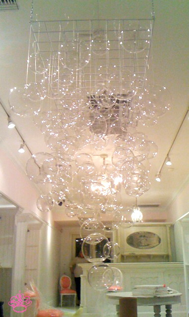 The First 60 Glass Have Been Hung Now Onto Silver Ball Ornaments Light You See In Background Is From Another Chandelier