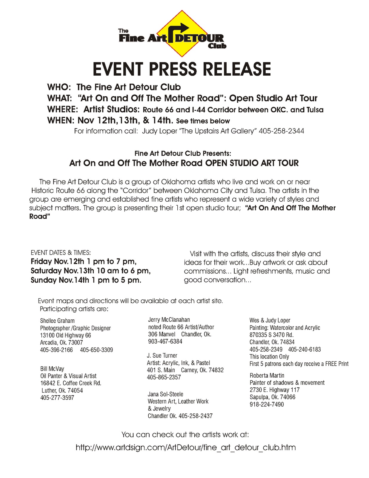 press release template for event - fine art magazine blog october 2010