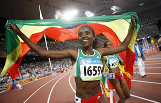 Tirunesh Dibaba after the 5000m triumph at the Bird's Nest - photo credit:Xinhua
