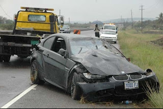 Usain Bolt's smashed BMW (Jamaica Observer Photo Editor Bryan Cummings)