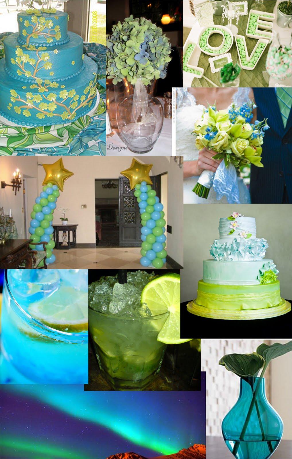 Aqua Color Wedding Cakes