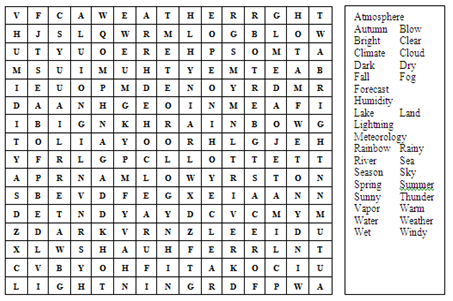 English Booster Wordsearch Weather