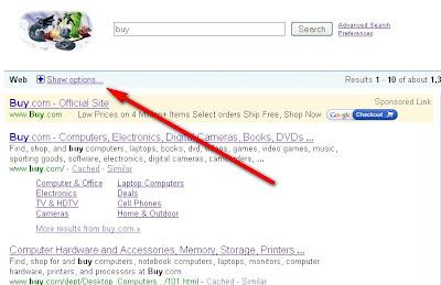 Show Options Google - Hide options Google Feature