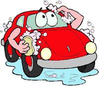Cute cartoon cars clipart of red buggy washing itself.