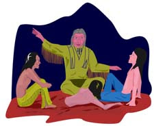 Native American clipart image of story teller