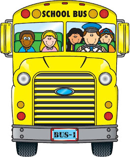 Students riding the school bus clip art image