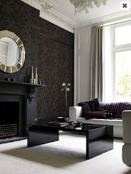 damask chimney breast living rooms carpet walls wall bedroom carpeted colour decor paint dark grey livingroom fireplace decorology wordless wednesday