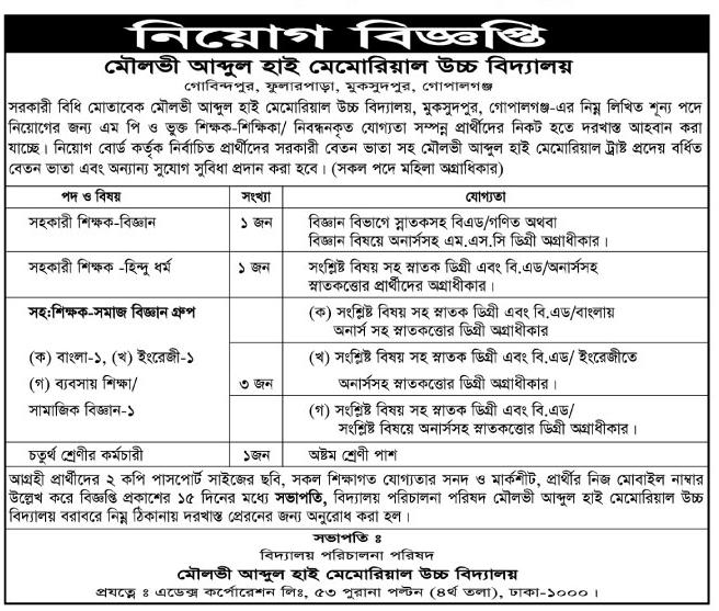 All kinds Jobs Information Bangladesh: High School Jobs
