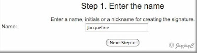 Screen shot on 'Enter the name' for creating personalized signature