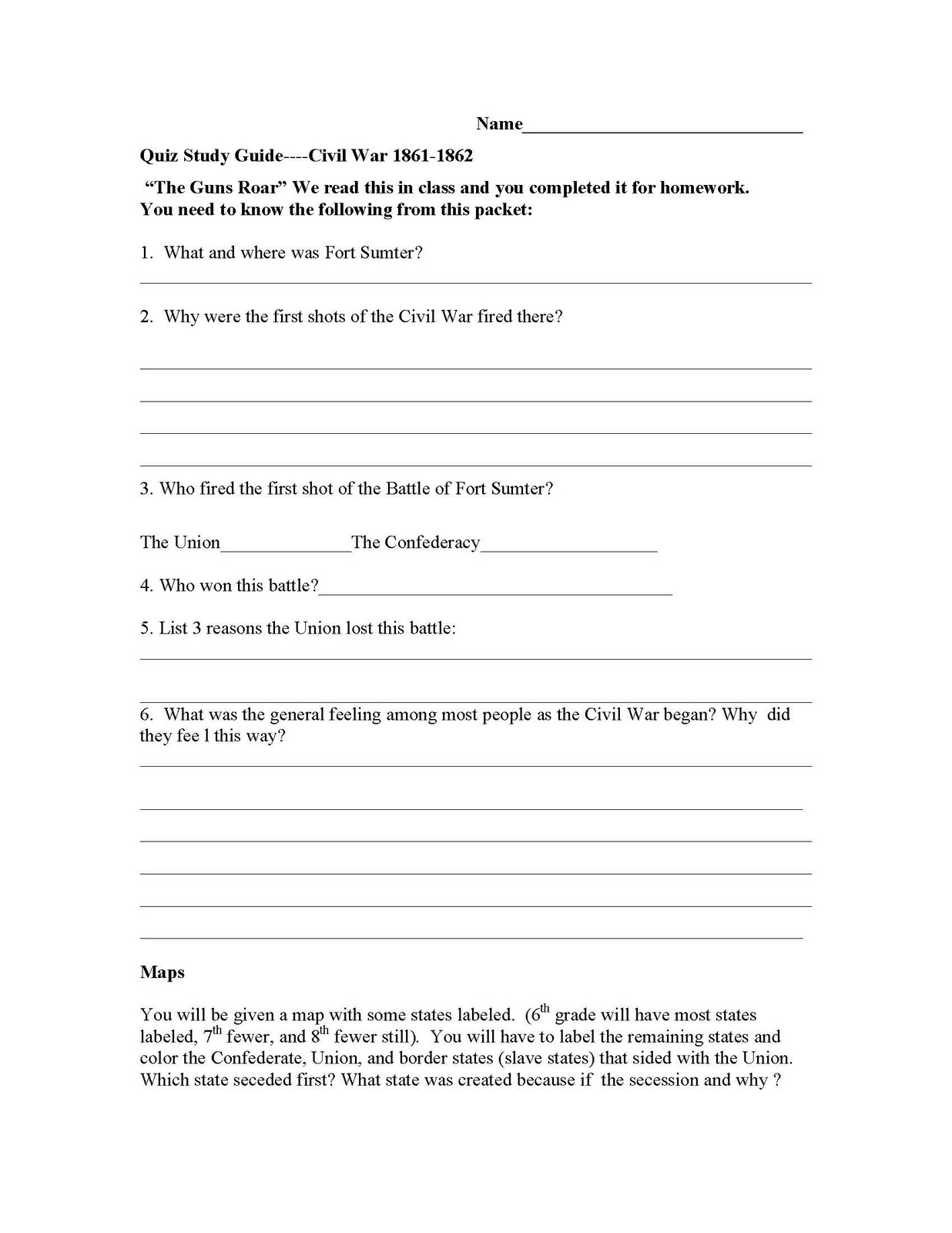 Synergy Humanities Study Guide For Civil War Test