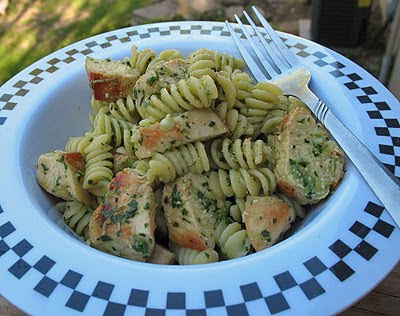 Rotini with Creamy Three Herb Pesto
