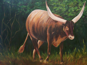 """A Lot of Bull!, Watusi, original oil painting"
