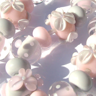 Pink & Grey Lampwork Glass Beads