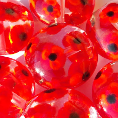 Lampwork Glass Poppy Beads