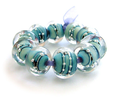 Lampwork Glass Beads With Fine Silver