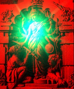 Image in 3D Bhavani Mata giving sword to Shivaji Maharaj