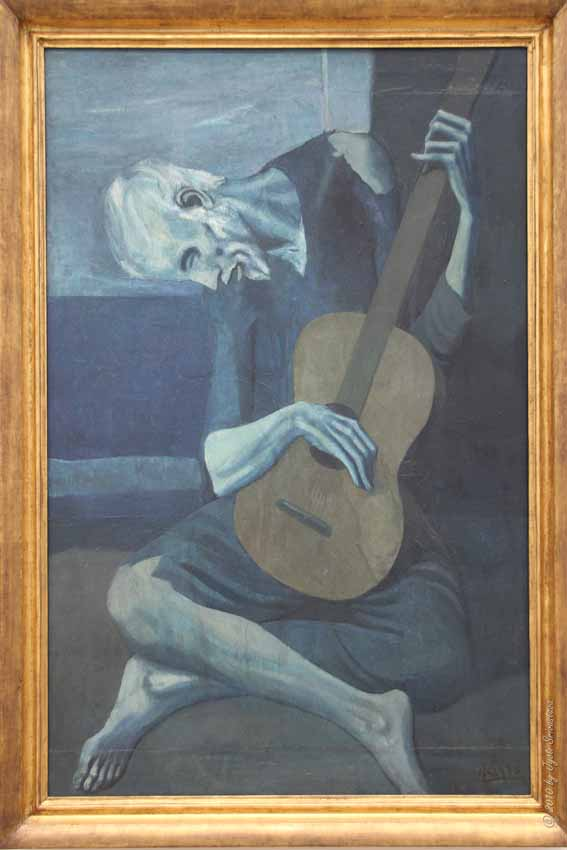 Public Art in Chicago: AIC: The Old Guitarist [By Pablo Picasso]